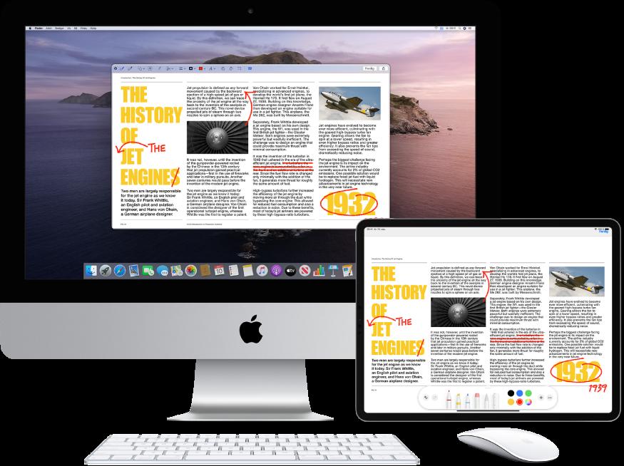 En iMac og iPad ved siden av hverandre. Begge skjermene viser en artikkel som er full av røde merknader, for eksempel utkryssede setninger, piler og ekstra ord. På iPaden vises også kontroller for merking nederst på skjermen.