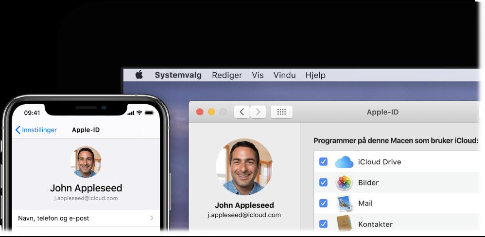 En iPhone som viser iCloud-innstillinger, og en Mac-skjerm som viser iCloud-vinduet.