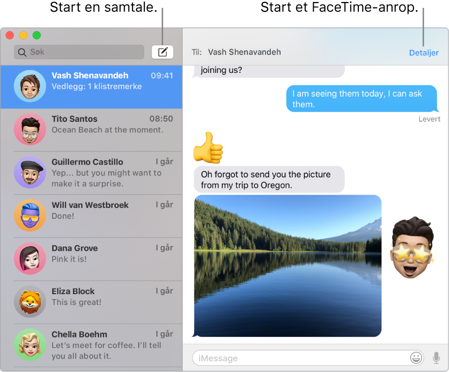 Et Meldinger-vindu som viser hvordan du starter en samtale og hvordan du starter et FaceTime-anrop.