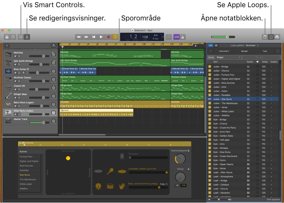 Et GarageBand-vindu som viser knappene for tilgang til Smart Controls, redigerere, notater og Apple Loops. Det viser også sporvisningen.