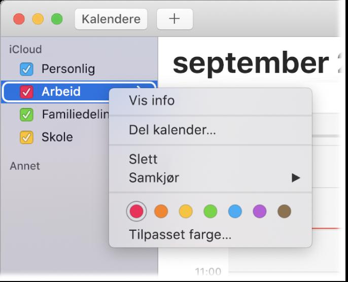 Kalender-snarveismenyen med alternativer for å endre fargen for en kalender.