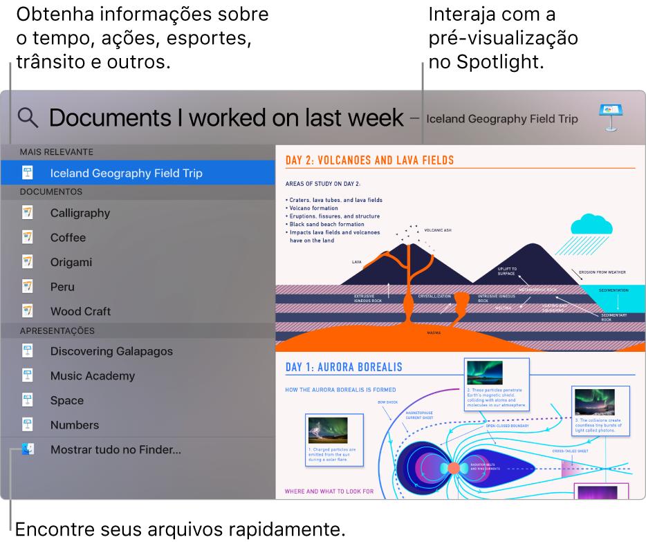 Janela do Spotlight mostrando resultados de busca à esquerda e uma pré-visualização à direita.