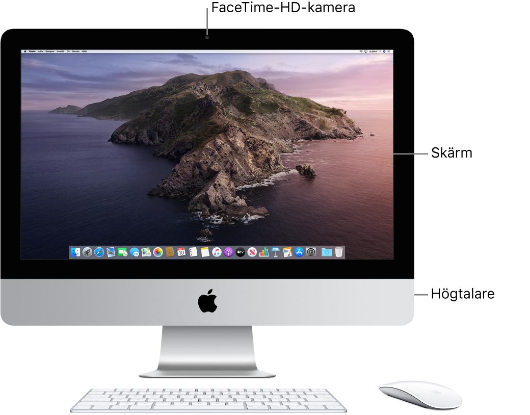 Vy av framsidan på iMac med skärmen, kameran och högtalare.