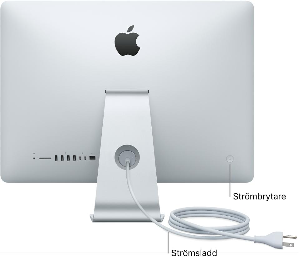 iMacs baksida med strömsladden och strömbrytaren.