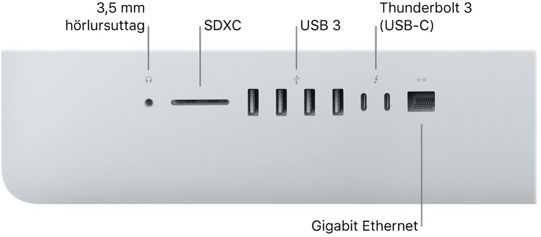 En iMac med ett 3,5 mm hörlursuttag, SDXC-kortplats, USB3-portar, Thunderbolt3 (USB-C)-portar och Gigabit Ethernet-port.