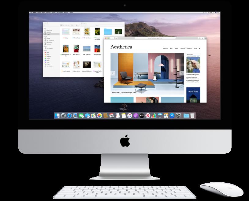 İki pencerenin açık olduğu iMac ekranı.