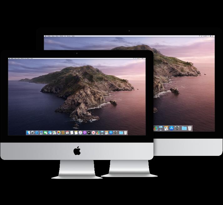 İki iMac ekranı, biri diğerinin önünde.