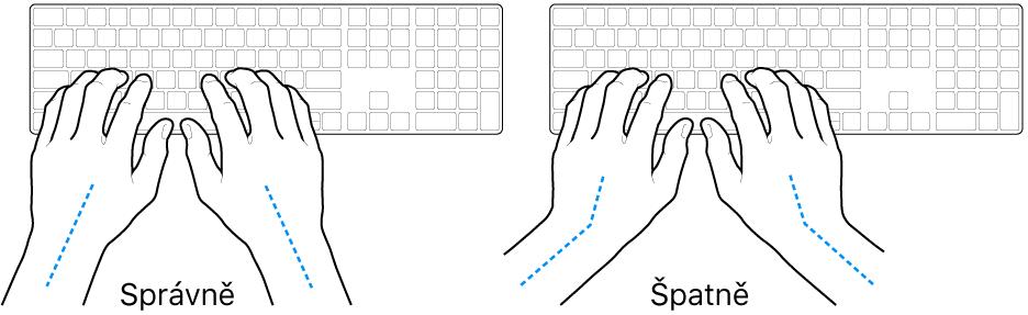 Ruce nad klávesnicí znázorňující správnou anesprávnou polohu zápěstí