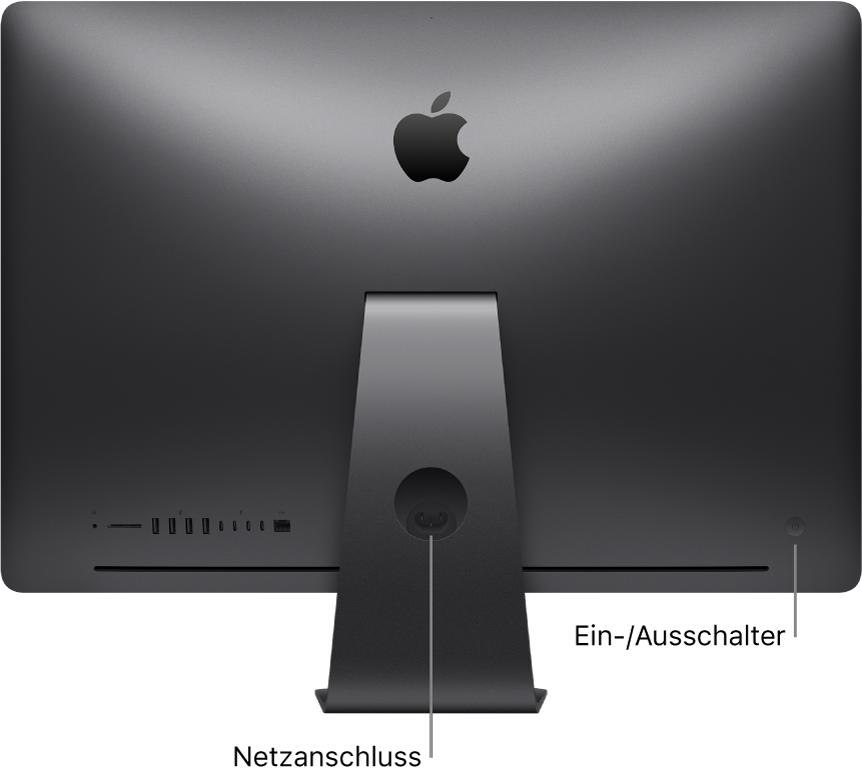 Rückansicht des iMacPro mit Netzkabelanschluss und Ein-/Ausschalter.