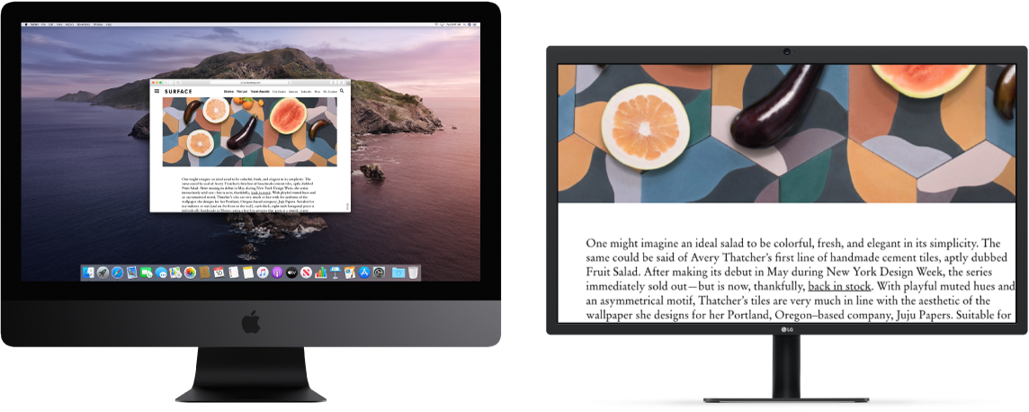 Zoom Display is active on the secondary display, while the screen size stays fixed on iMac Pro.