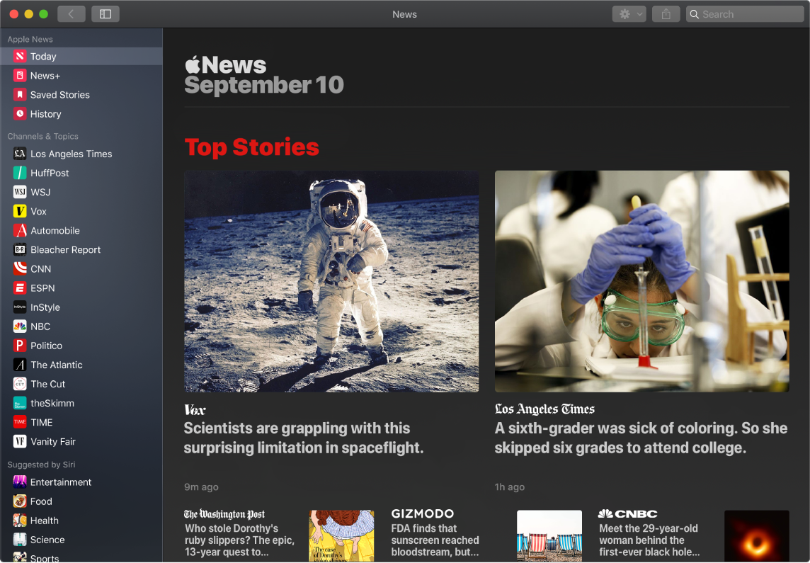 A News window showing the watchlist and the Top Stories.