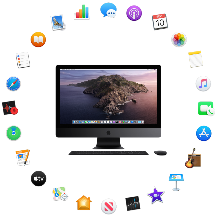 An iMac Pro surrounded by the icons for the built-in apps described in the following sections.