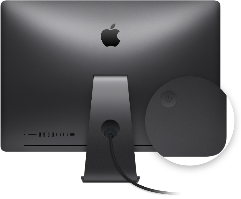 Back view of iMac Pro display with an emphasis on the power button.