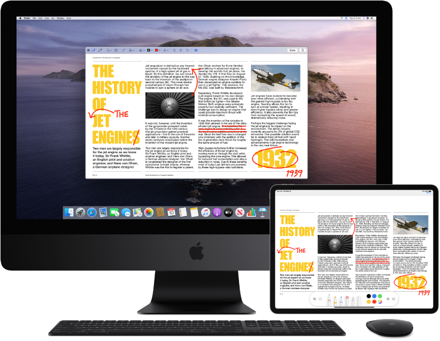 An iMac Pro and an iPad sit side by side. Both screens display an article covered in scribbled red edits, such as crossed out sentences, arrows, and added words. The iPad also has mark up controls at the bottom of the screen.