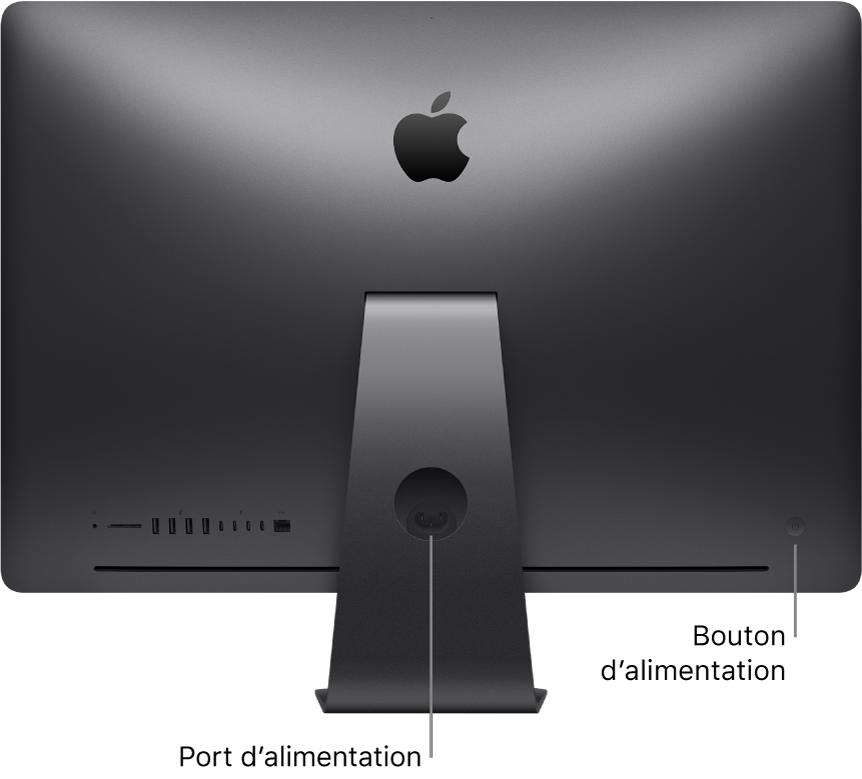 Vue arrière de l'iMacPro, présentant le port d'alimentation CA et le bouton d'alimentation.