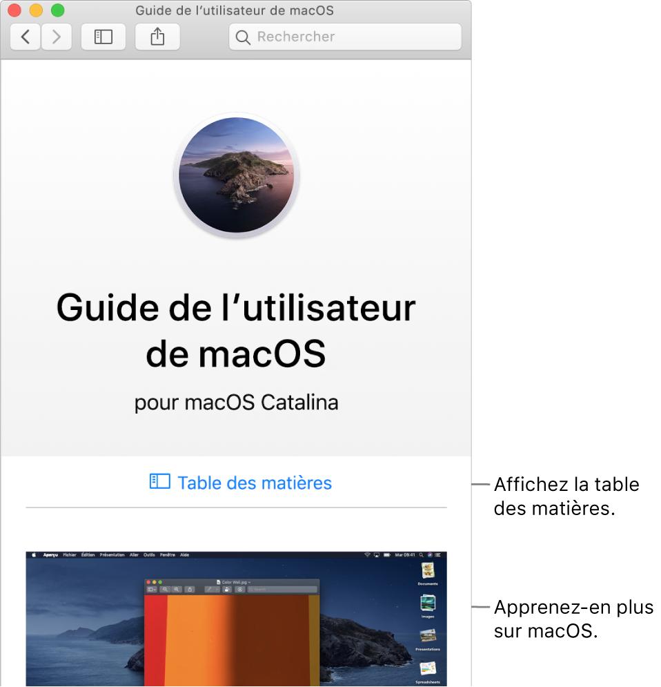 La page d'accueil du Guide de l'utilisateur de macOS présentant le lien Table des matières.