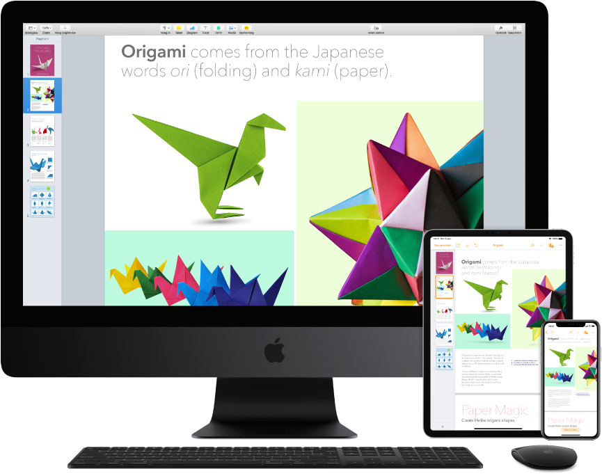 Identieke inhoud weergegeven op een iMacPro, een iPad en een iPhone.