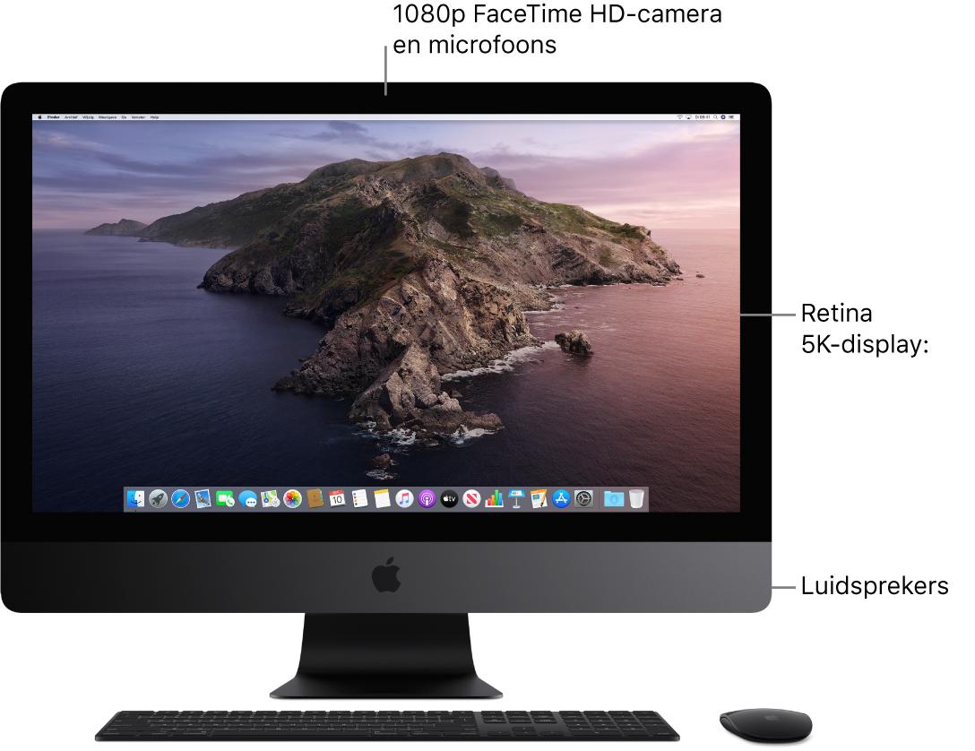 Vooraanzicht van een iMacPro met het beeldscherm, de camera, de microfoons en de luidsprekers.