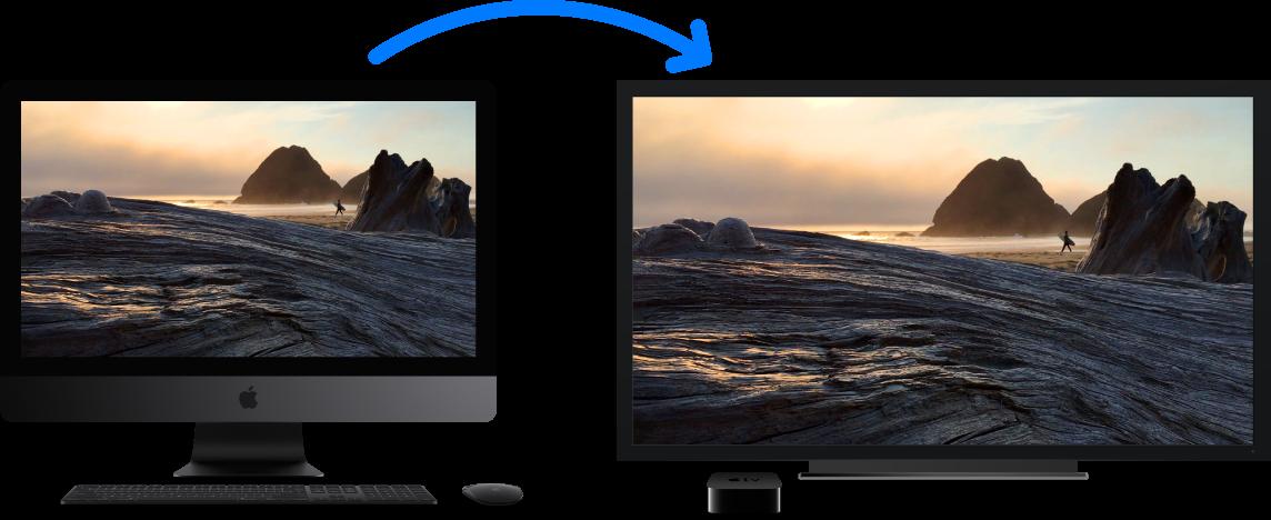 Een iMacPro waarvan de inhoud via een AppleTV wordt weergegeven op een grote HD-tv.