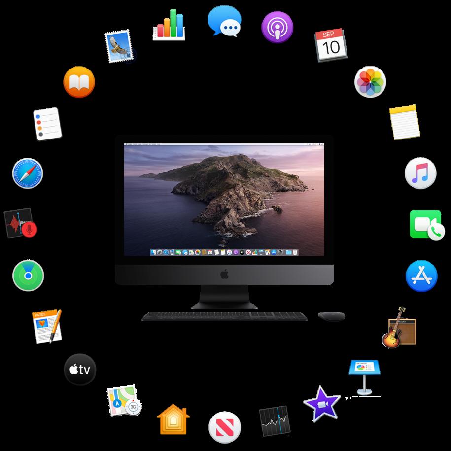 Een iMacPro omringd door de symbolen voor de apps die standaard worden meegeleverd en die hierna worden beschreven.