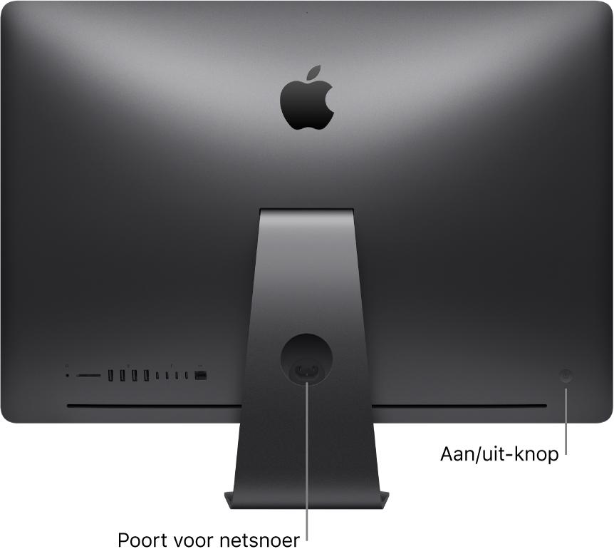 Achteraanzicht van de iMacPro met de aansluiting voor de lichtnetadapter en de aan/uit-knop.