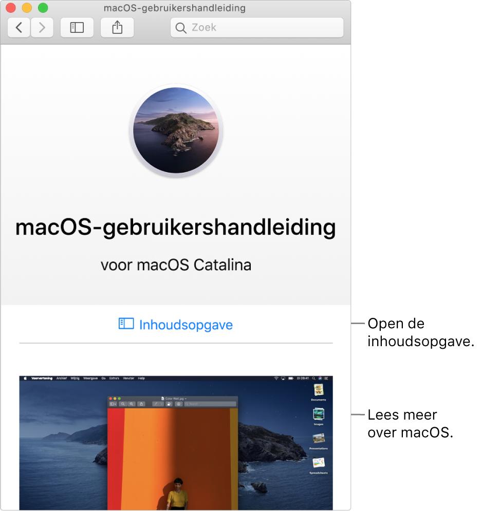 De welkomstpagina van de macOS-gebruikershandleiding met de link 'Inhoudsopgave'.