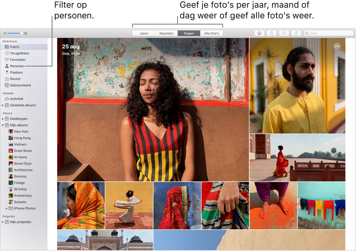Een Foto's-venster waarin wordt aangegeven hoe je de foto's in je album op verschillende manieren kunt filteren.