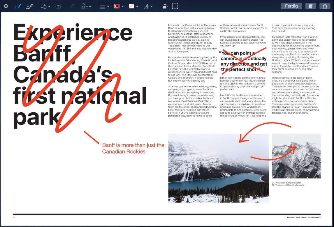 Et skjermbilde med merknader som viser redigeringer og endringer i rødt.