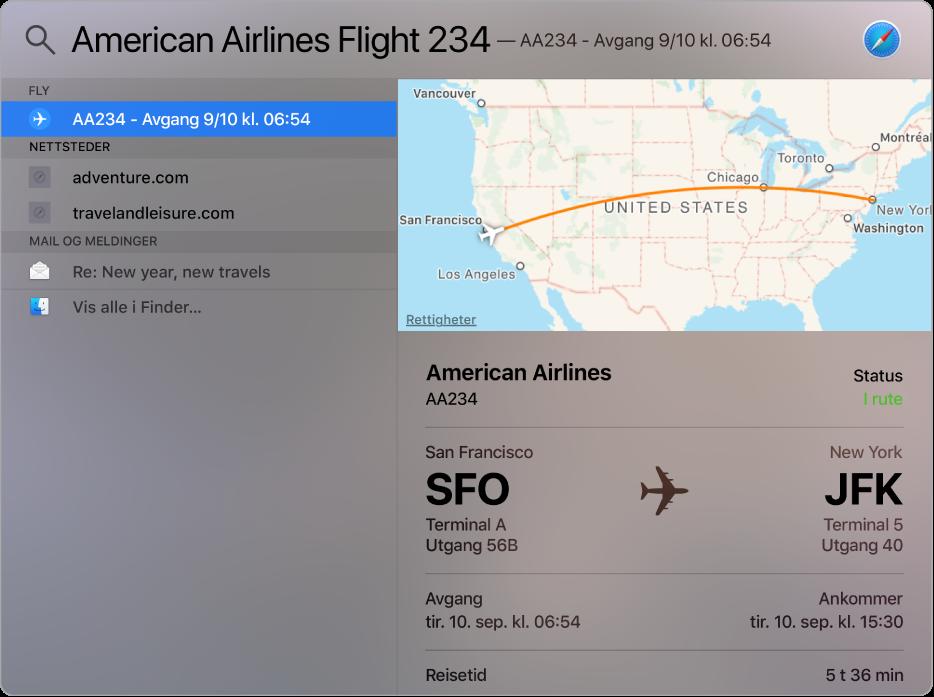 Spotlight-vinduet, som viser et kart og flyinfo for flyvningen som du søkte etter.