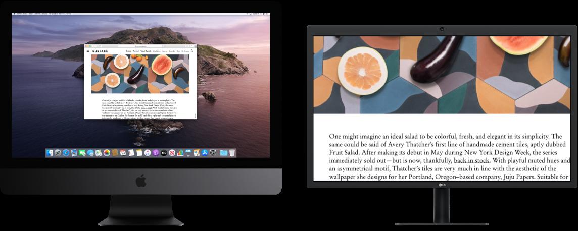 Büyütme Ekranı ikinci ekranda etkin ama iMac Pro üzerinde ekran boyutu değişmeden duruyor.