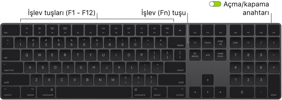 Klavyenin sol alt köşesinde İşlev (Fn) tuşunu ve sağ üst köşesinde açma/kapama anahtarını gösteren MagicKeyboard.
