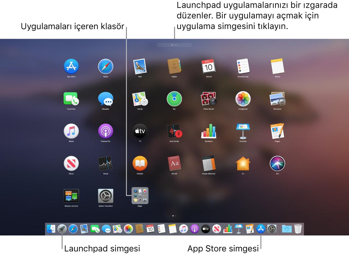 Launchpad'in açık olduğu, Launchpad'de bir uygulama klasörünün ve Dock'ta da Launchpad simgesi ile App Store simgesinin gösterildiği bir Mac ekranı.