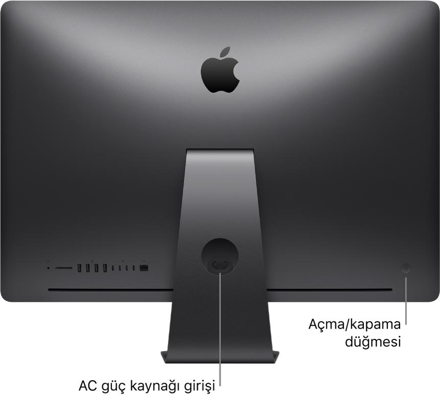 AC güç kapısını ve açma/kapama düğmesini gösteren iMac Pro'nun arka görünümü.