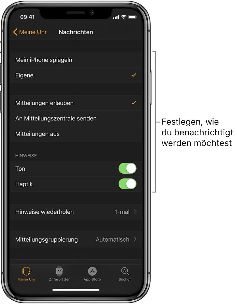 """Einstellungen für """"Nachrichten"""" in der App """"AppleWatch"""" auf dem iPhone. Du kannst auswählen, ob Hinweise angezeigt werden, Ton oder Haptik aktivieren und Hinweise wiederholen."""
