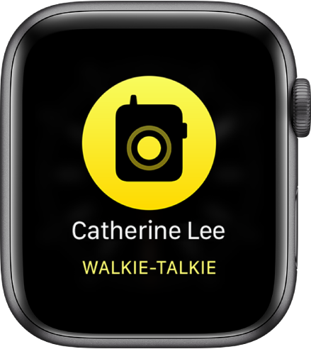 """Der Bildschirm """"Walkie-Talkie"""" mit einer Taste """"Reden"""" in der Mitte, Lautstärkeanzeige oben rechts und dem Namen """"Molly"""" oben links."""