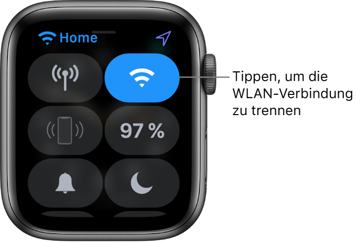 """Das Kontrollzentrum auf AppleWatch (GPS + Cellular) mit der Taste """"WLAN"""" oben rechts. Legende: """"Zum Trennen vom WLAN tippen"""""""