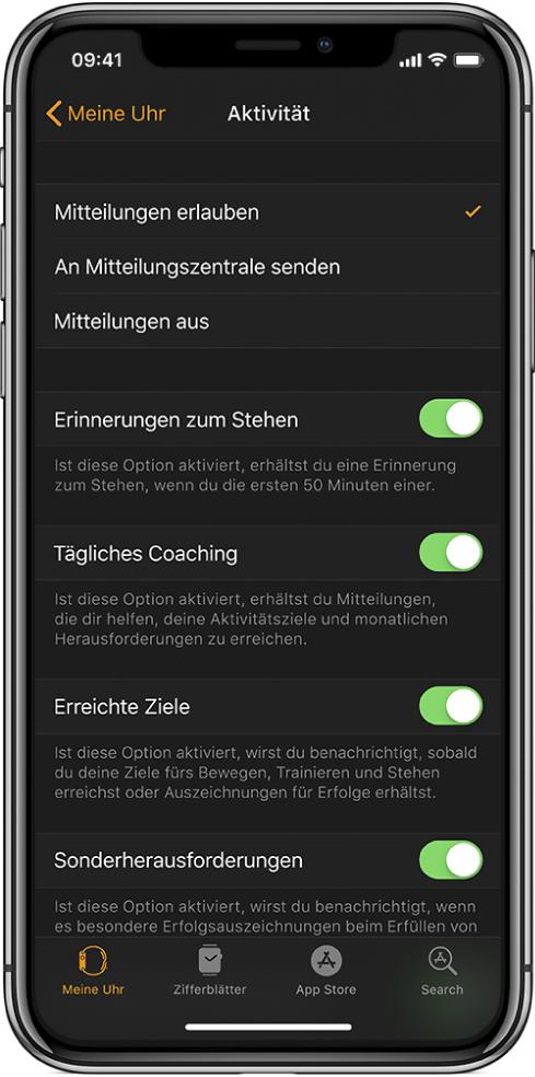 """Der Aktivitätsbildschirm in der App """"AppleWatch"""", in dem du die Mitteilungen, die du erhältst, anpassen kannst."""