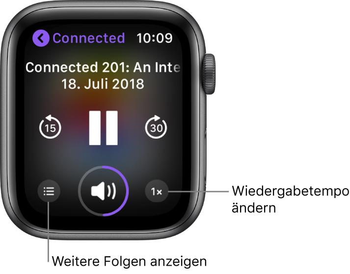 """Ein Podcast-Bildschirm """"Aktueller Titel"""" mit den Titeln von Sendung und Folge, dem Datum, den Tasten zum Zurückspringen von 15Sekunden, zum """"Anhalten"""" und zum Vorspringen von 30Sekunden, für Folgen, für die Lautstärkeanzeige und für das Wiedergabetempo"""