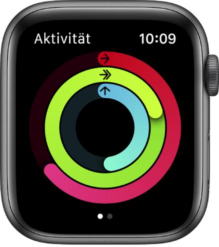 """Der Bildschirm """"Aktivität"""" mit den Ringen """"Bewegen"""", """"Trainieren"""" und """"Stehen"""""""