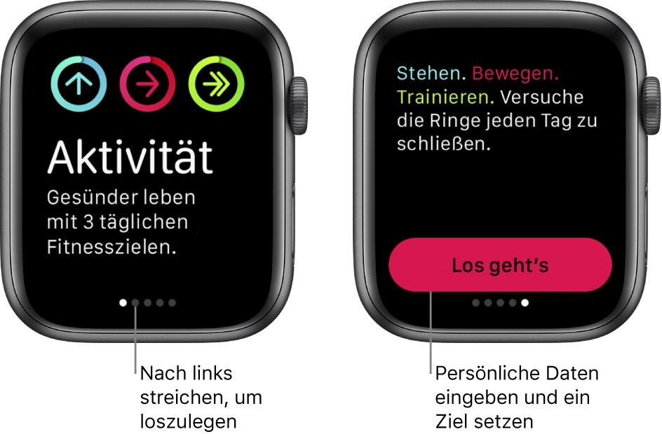 """Zwei Bildschirme: Auf dem einen Bildschirm siehst du den Startbildschirm der App """"Aktivität"""", auf dem anderen die Taste """"Los geht's""""."""