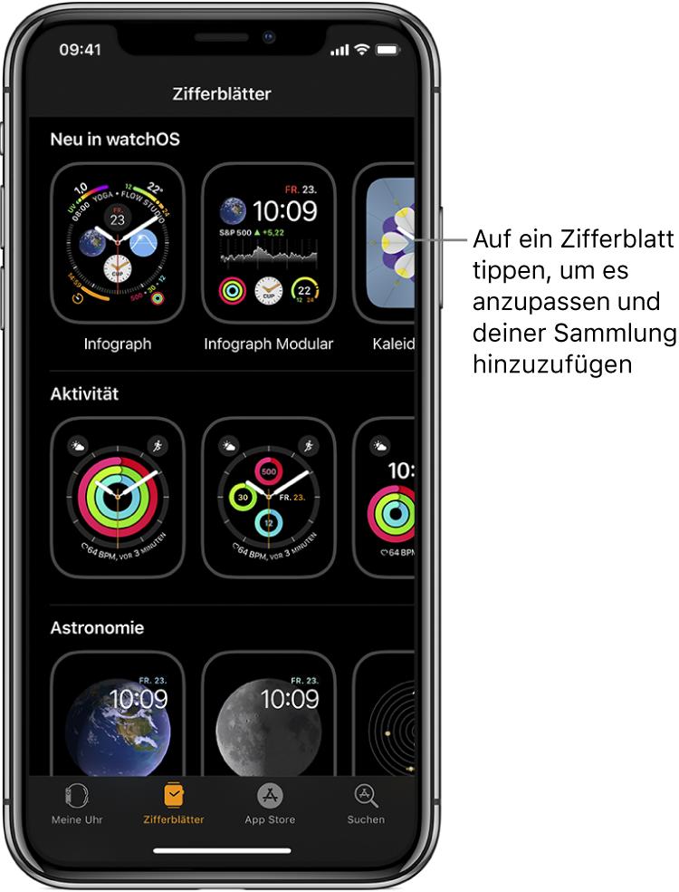 """Die Zifferblattgalerie in der App """"AppleWatch"""". In der oberen Zeile befinden sich die neuen Zifferblätter, in den nächsten Zeilen sind die Zifferblätter nach Typ z.B. """"Aktivität"""" und """"Astronomie"""" gruppiert. Scrolle, um mehr Zifferblätter nach Typ sortiert anzuzeigen."""