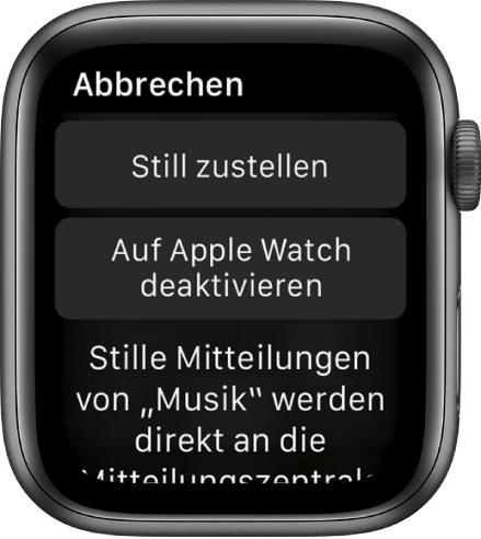 """Einstellungen für Mitteilungen auf der Apple Watch. Die Taste """"Still zustellen:"""" befindet sich oben und darunter befindet sich die Taste """"Auf der AppleWatch deaktivieren""""."""