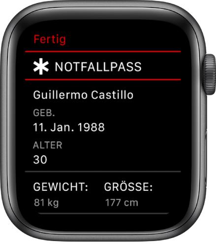 """Der Bildschirm """"Notfallpass"""" mit Benutzername, Geburtsdatum, Alter, Gewicht und Größe"""