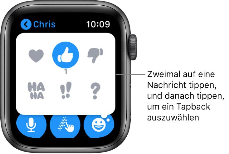 """Eine Konversation in """"Nachrichten"""" mit Optionen für Tapback: Herz, Daumen hoch, Daumen runter, Ha Ha, !! und ?."""