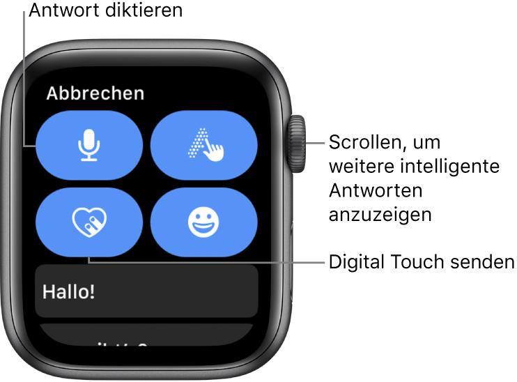 """Der Bildschirm """"Antworten"""" mit Diktieren, Kritzeln, Digital Touch und Emoji. Darunter werden intelligente Antworten angezeigt. Drehe die Digital Crown, um intelligente Antworten anzuzeigen."""