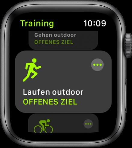 Der Trainingsbildschirm mit hervorgehobenem Outdoor-Lauf