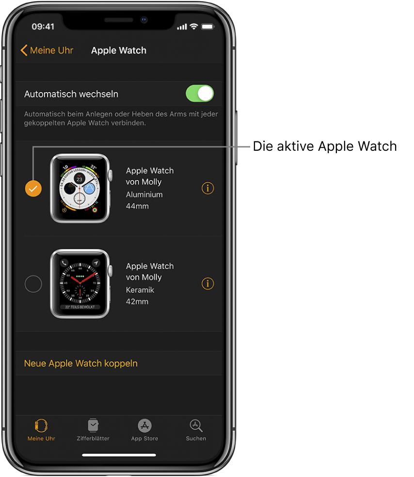 Häkchen für die aktive AppleWatch
