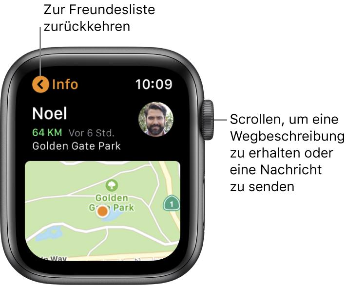Ein Bildschirm mit Details zum Standort eines Freundes, einschließlich wie Entfernung und Standort auf einer Karte.