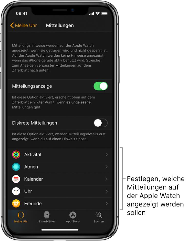 """Der Bildschirm """"Mitteilungen"""" in der App """"AppleWatch"""" auf dem iPhone mit verschiedenen Quellen für Mitteilungen."""
