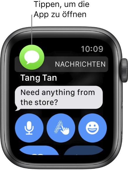 Das Symbol für die App, zu der die Mitteilung gehört, wird oben links angezeigt. Du kannst darauf tippen, um sie in der App zu öffnen.